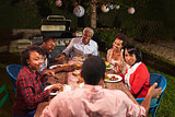 Adult black family talking at dinner in their garden