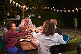 Friends and family making a toast at dinner party in garden