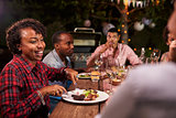 Adult black family enjoy dinner and conversation in garden