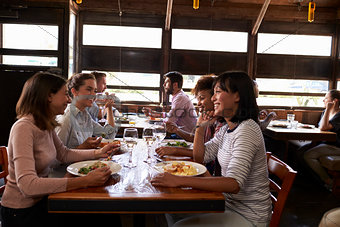 Four female friends at a girlsÕ lunch in a busy restaurant