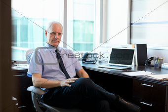 Portrait Of Doctor Sitting At Desk In Office