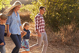Young white family walking on a path in sunlight, side view