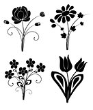 vector silhouette flowers set 2