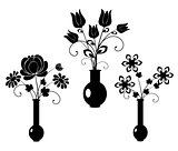 vector silhouette flowers set 3