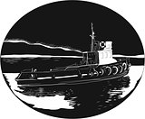 River Tugboat Oval Woodcut