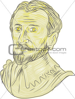 15th Century Spanish Explorer Bust Drawing
