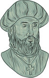 Vasco da Gama Explorer Bust Drawing