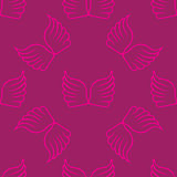 Angel wings seamless lilac pink pattern