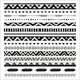 Vector black abstract tribal seamless pattern borders