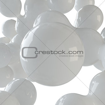 Abstract group of white spheres
