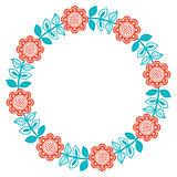Scandinavian folk art round floral pattern - Finnish, Nordic, style