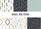 Set of modern seamless hand drawn geometric tribal patterns. Vector navajo design.