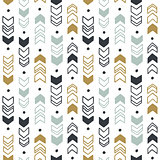 Seamless hand drawn geometric tribal pattern. Vector navajo design.