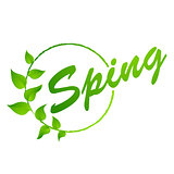 Hello Spring abstract background. Design element with green leaves