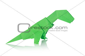 Green dinosaur Rex of origami.