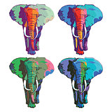 Four colorful elephants drawing