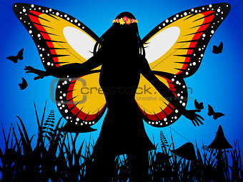 Fairy queen silhouette with butterfly wings