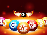 Jackpot and number 8 balls with wings on glowing background