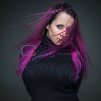 attractive girl with violet hair