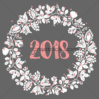 2018 vector wreath on dark background
