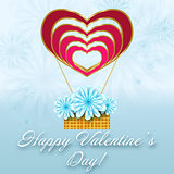 St. Valentine floral card with balloon of hearts.