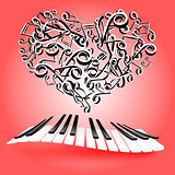 St. Valentine love card with hearts and piano keys. Music of lov