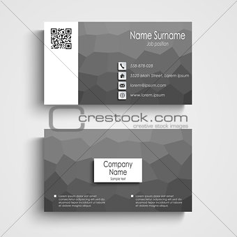 Business card with white black poly flow pattern