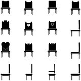 Black chairs and armchairs- set icons.