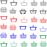Basket red and blue colour - set icons.