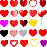 Red, yellow, violet and grey hearts - set.