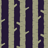 Khaki tree stem silhouettes seamless vector pattern.