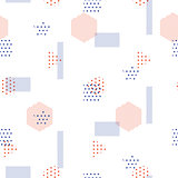 Memphis style vector seamless pattern with geometric shapes.