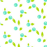 Berry light seamless pattern white background.