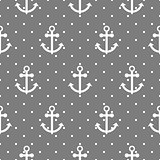 Seamless vector pattern with nautical anchors.