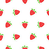 Cute strawberry red and white seamless pattern.