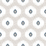 Abstract seamless pattern with drops in circles.
