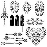 Tribal aztec vector stencil elements.