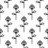 Stylized line flower seamless pattern.