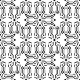 Black and white ornament seamless vector pattern.