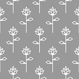 Stylized line flower gray seamless pattern.