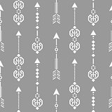 Aztec ethnic arrow ornament seamless vector pattern.