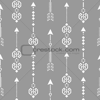 Aztec ethnic arrow ornament seamless vector pattern.