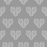 Tribal heart shape ornament seamless vector pattern.