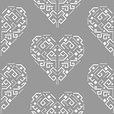 Navajo heart shape ornament seamless vector pattern.