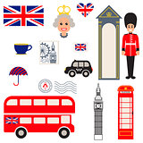 England vector traditional symbols.