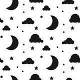 Starlight night seamless vector pattern.