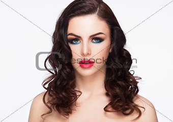 Beauty blue eyes red lips makeup fashion model