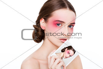 Beauty makeup pink eyes and lips fashion model