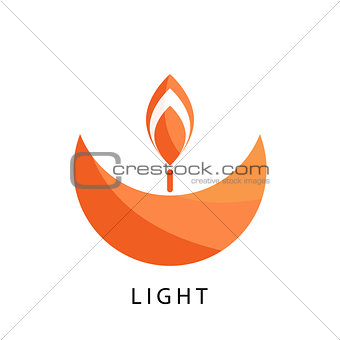 Candle logo vector template. Stylized religion and charity icon.