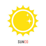 Yellow sun vector icon logo design concept.